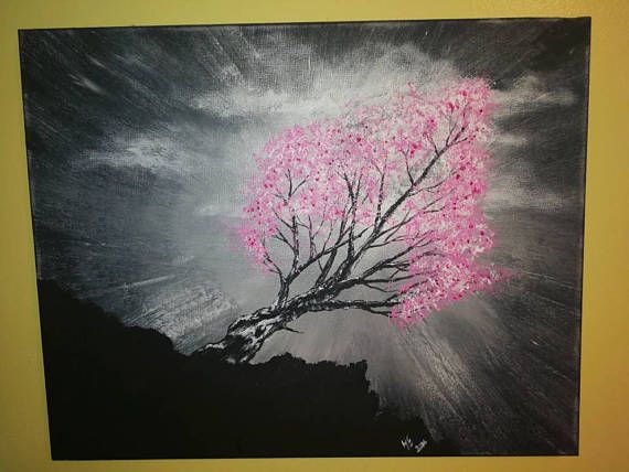 Cherry blossoms in the moonlight original acrylic
