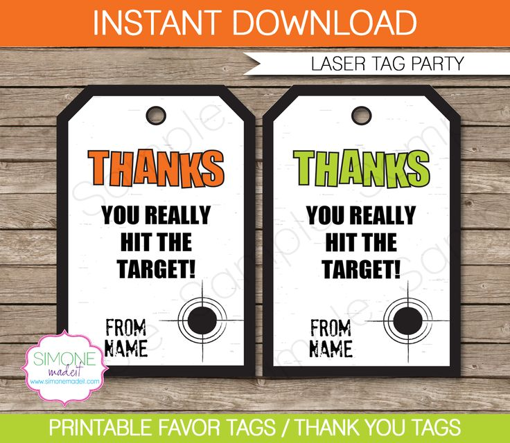 Laser Tag Party Favor Tags | Thank You Tags | Green Orange | Birthday Party Theme | Editable DIY Template | via SIMONEmadeit.com
