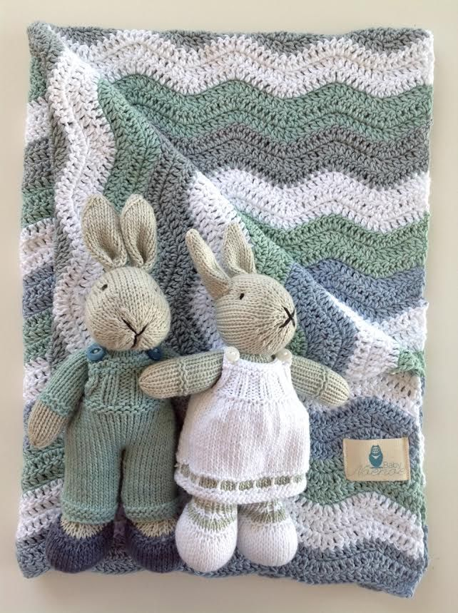 Hand knitted bunny and blanket set in blue, grey and green.