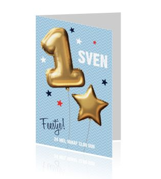 Hippe uitnodiging voor een jongen van 1 jaar met een schitterende gouden ballon op een blauwe achtergrond. Maak een unieke uitnodigingskaart voor het 1ste verjaardagsfeestje van jullie kleine bink. Bekijk deze en meer uitnodigingen op luckz.nl