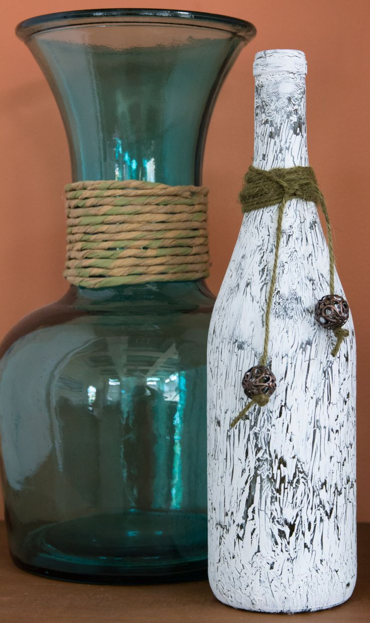 Crackle Painted Upcycled Wine Bottle with Jute