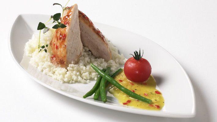 Chiliglasert kyllingfilet med gul paprikasaus
