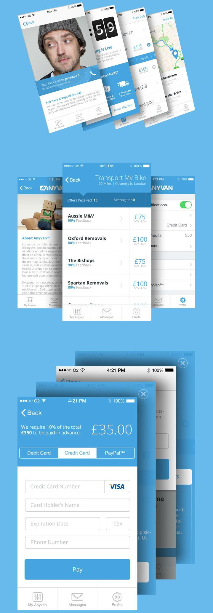 AnyVan iOS app. #ui #app #ios #UserInterface #Design
