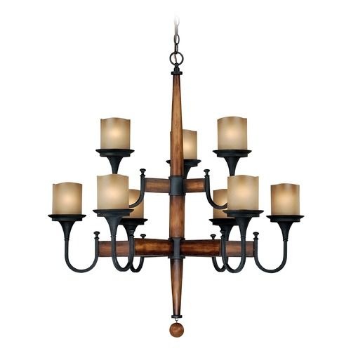 Meritage Charred Wood and Black Iron Chandelier by Vaxcel Lighting | H0027 | Destination Lighting