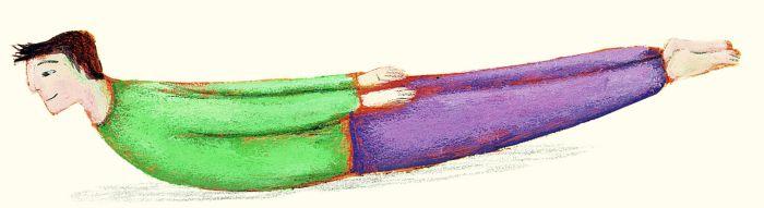 La canoa. Stesi sul ventre, con le braccia lungo il corpo, ci si stira al massimo per qualche respiro, poi, inspirando, si sollevano petto/braccia e bacino/gambe rimanendo in equilibrio sul ventre. Si mantiene la posizione con respiri tranquilli. Quando si è stanchi si riposa e si esegue di nuovo l'esercizio cercando, con l'allenamento, di mantenere via via la posizione della canoa più a lungo. Rafforza la muscolatura della schiena, raddrizza le spalle, migliora la postura.