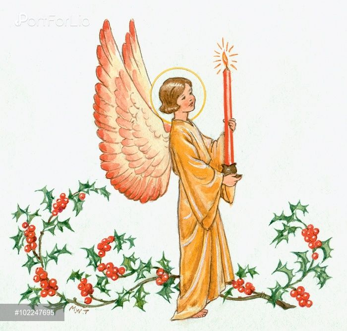 Angel With Candle And Spray Of Holly