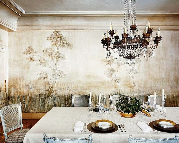 A rich and creamy mural brings old world elegance to a for Mural room white house