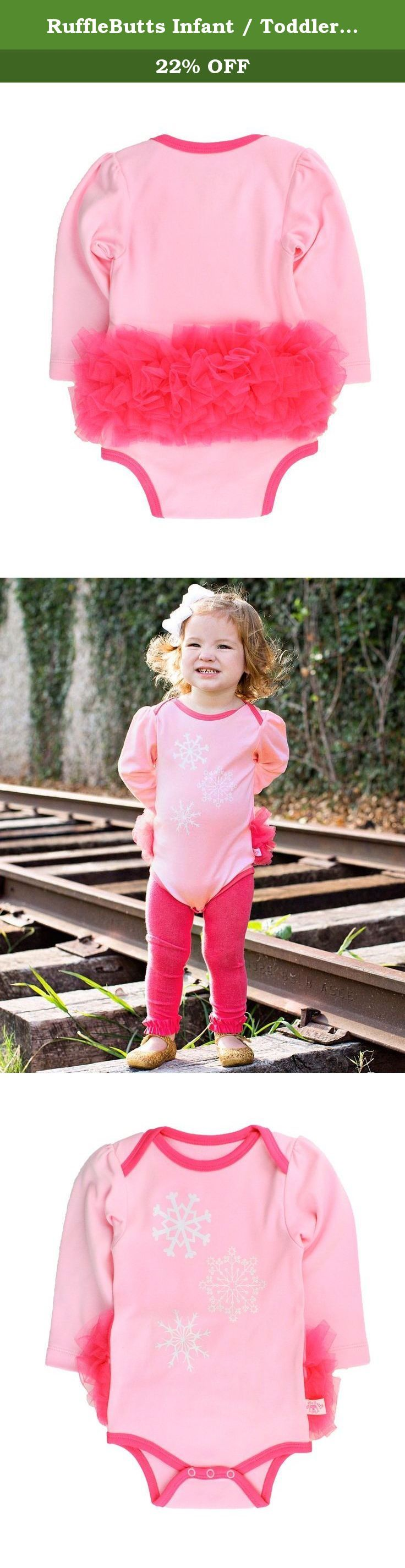 RuffleButts Infant / Toddler Girls Pink Sparkle Snowflake Bodysuit - Pink - 0-3m. This long sleeve one-piece bodysuit is a winter must-have! The sparkly snowflake graphic and mesh ruffles add extra flair to this soft and comfy bodysuit. The lap neckline and nickel-free snaps ensure quick and easy changing. Pair with RuffleButts Candy Footless Tights for a complete outfit!.