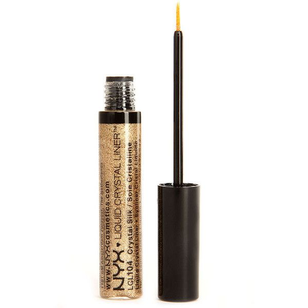 NYX Crystal Silk Gold Liquid Crystal Liner ($4.50) ❤ liked on Polyvore featuring beauty products, makeup, eye makeup, eyeliner and gold