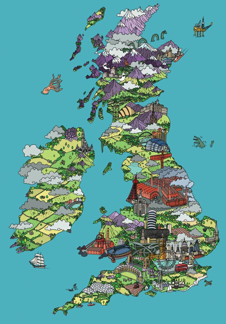 Illustrated Map of Britain by Andy Council
