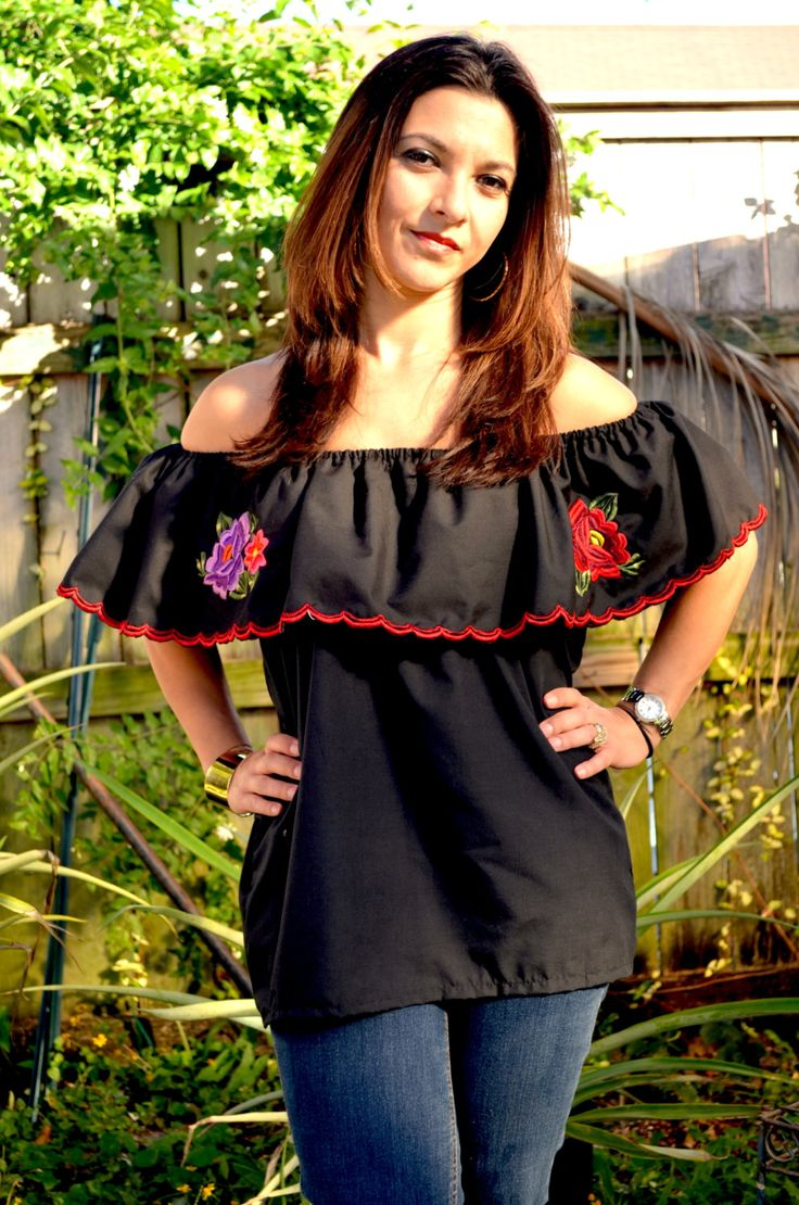Peasant Blouse // Mexican Blouse // Black Mexican Blouse by TheMexicanGringo on Etsy