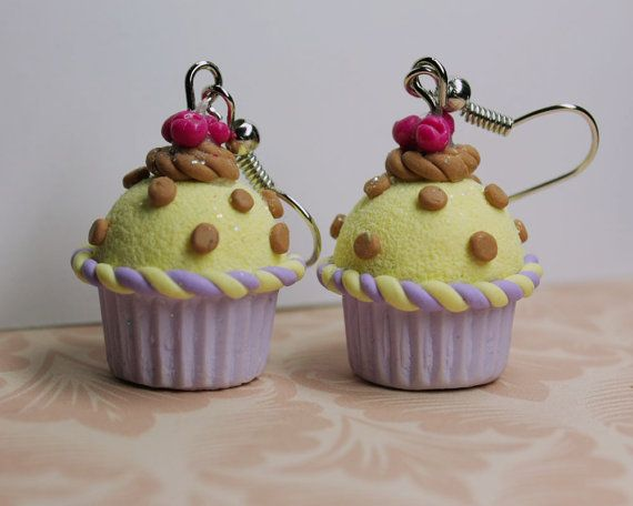 Polka dot yellow n violet cupcake earrings with by TinkyPinky