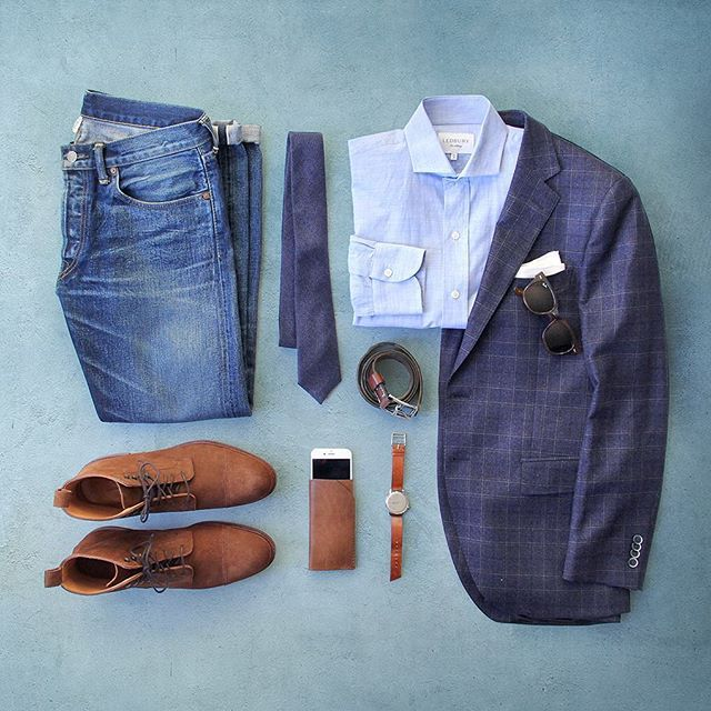 Rugged refined.  Blazer: @ledburyshirts Blue Heathfield Shirt: @ledburyshirts  Watch: @miansai M12 Boots: @meerminmallorca iPhone Case: @bisonmade Denim: Double RL @ralphlauren Belt: @jcrew Pocket Square: @thetiebar