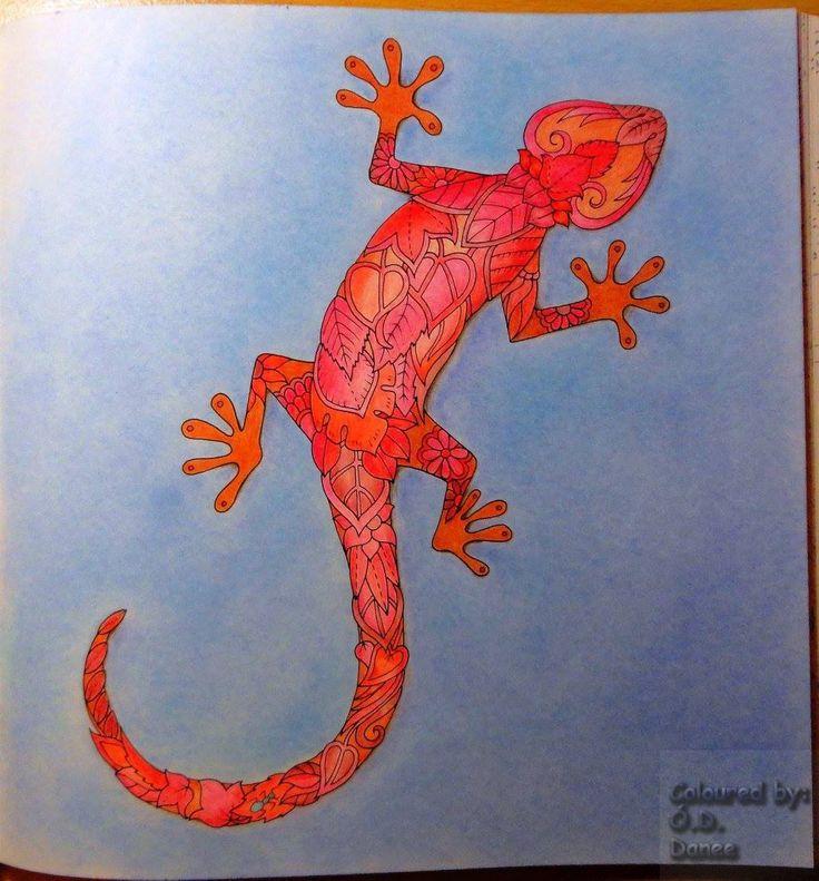 Mágikus Dzsungel - Gyík  Készült: Aihao ceruzák Háttér: Colorino Artist Porpasztell  Magical Jungle - Lizard  Coloured Aihao pencils  Background: Colorino Artist Soft Pastels