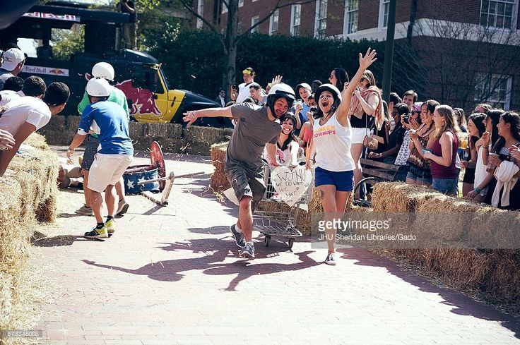 College students compete in the annual Red Bull Chariot Race at the 2016 Spring Fair, an annual festival featuring music, food, vendors, and various other forms of entertainment on the Johns Hopkins University's Homewood campus in Baltimore, Maryland, April, 2016. Courtesy Eric Chen. (Photo by JHU Sheridan Libraries/Gado/Getty Images).