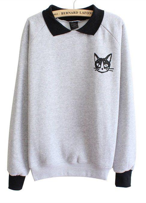 """Luna et Margarita - Sweat femme imprimšŠ avec col pull en molleton taille unique """"dessin de chat gris"""""""
