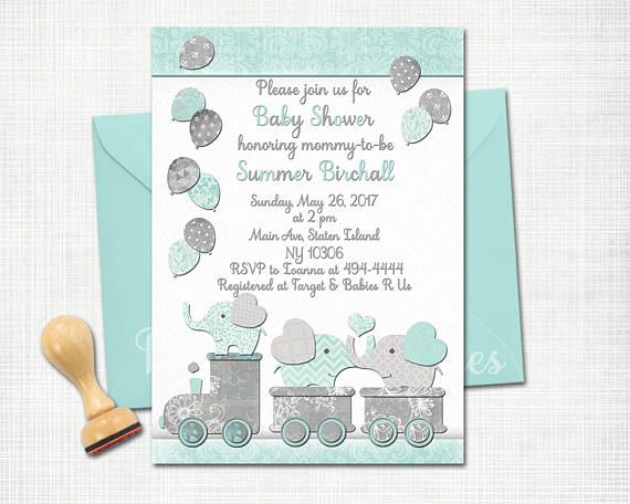 52 best invitations for baby boy images on pinterest baby shower elephant baby shower printable invitation baby boy train filmwisefo