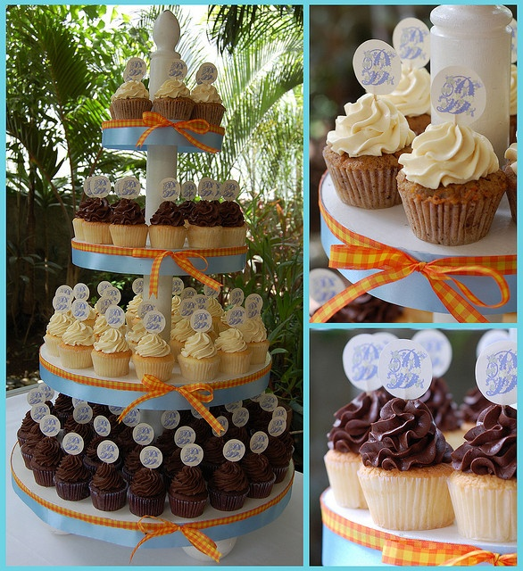 Great way to personalize cupcake towers with your wedding colors - add ribbon!
