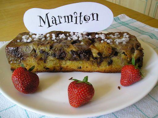 cake moelleux bananes - pommes et pépites de chocolat - Recette de cuisine Marmiton : une recette