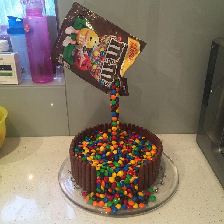 Anti gravity cake m&ms