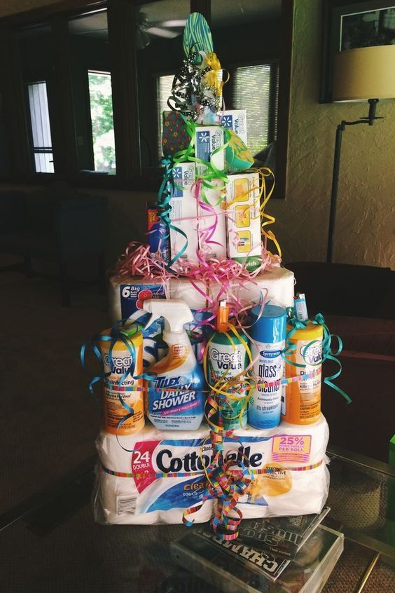 "A ""cake"" made from cleaning supplies — great gift for someone moving into a new place!: 