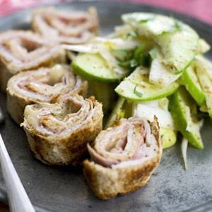 Chicken Cordon Bleu Rollups: A lighted-up version of a comfort food favorite, perfect for small gatherings all year round. Nutrition information per serving: 231 calories; 4g fat; 33mg cholesterol; 27g carbohydrate; 23g protein; 6g fiber; 1,070mg sodium