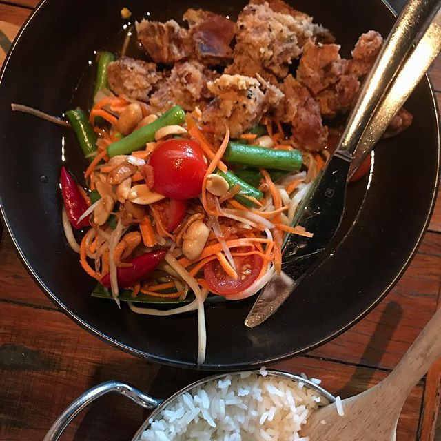 Wonderful dinner at Pepper Seeds - loving their Papaya Salad with soft-shell crab. Id serve it as an entree or appetiser. But they bring it out as a main.   Theres the odd crunch of a peanut in there