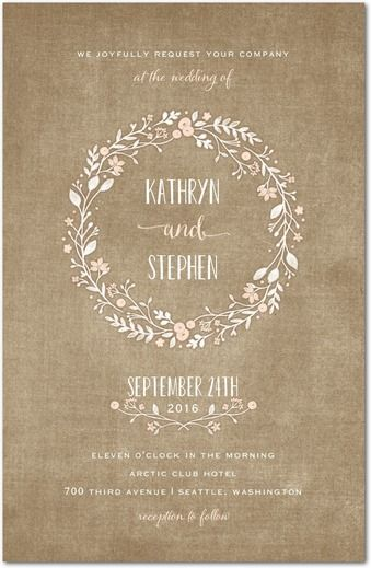 Wreathed in Love - Signature White Wedding Invitations - Lady Jae - Cashmere Pink - Pink : Front