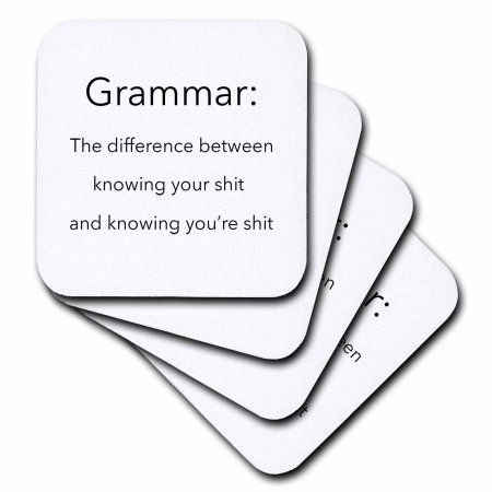 3dRose Saying - The definition of Grammar, Ceramic Tile Coasters, set of 4