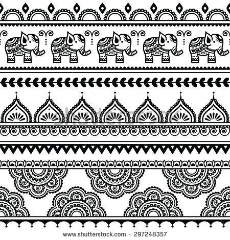 Mehndi, Indian Henna tattoo seamless pattern with elephants - stock vector