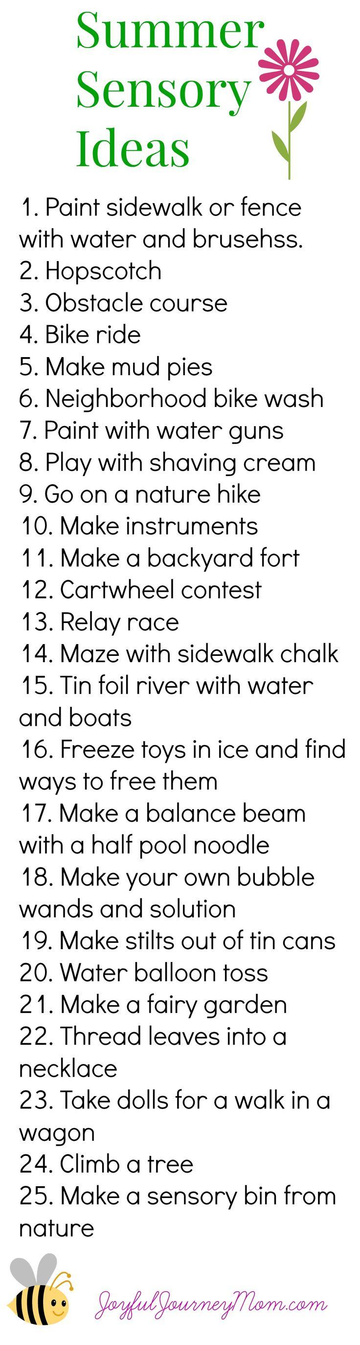 Great list of summer sensory play ideas