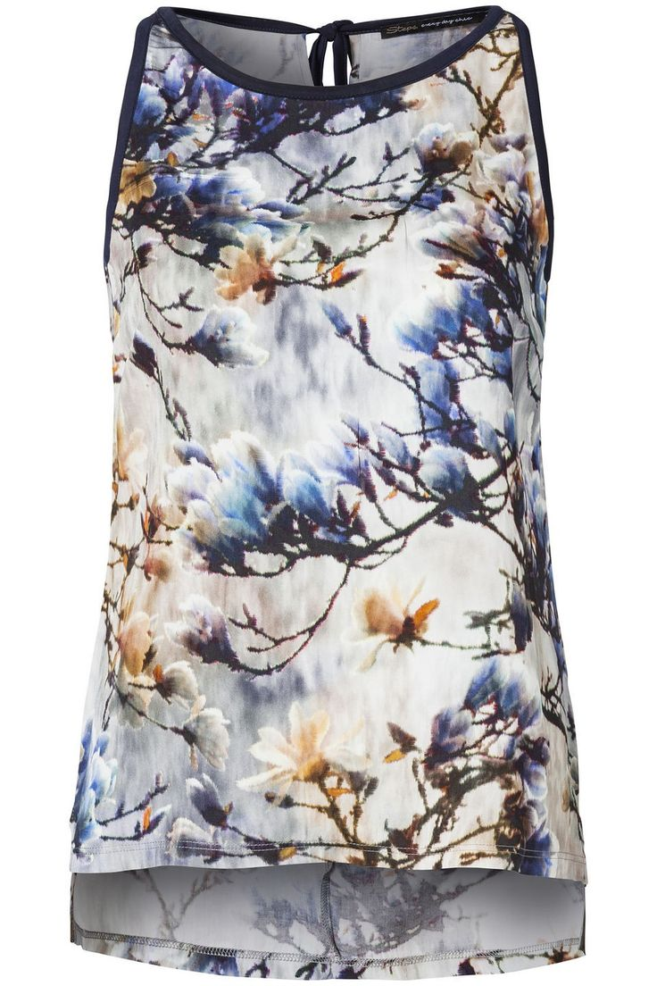 This kind of print always does it for me - Mouwloze Top Blauw - T-shirts & tops - Collectie