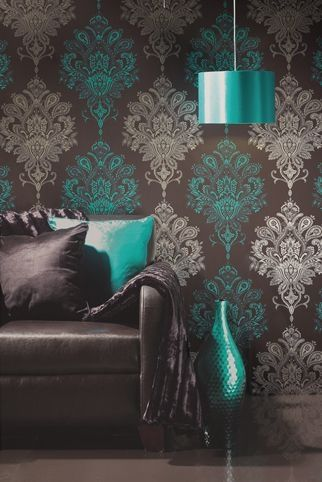 the alternating of colors with the stencil is great. teal or turquoise blue with silver and dark gray.  #beigeisboring