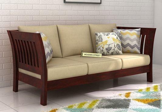 Get Raiden 3 Seater Wooden Sofa Online in Mahogany Finish