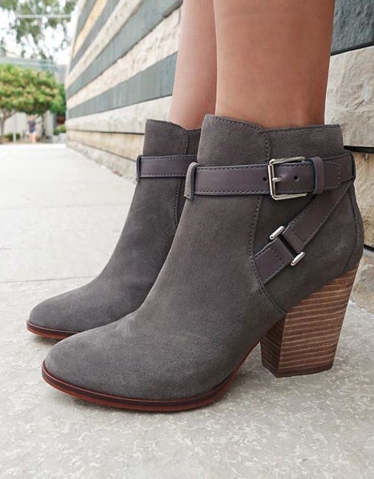 I'd love a pair of grey booties with a heel.
