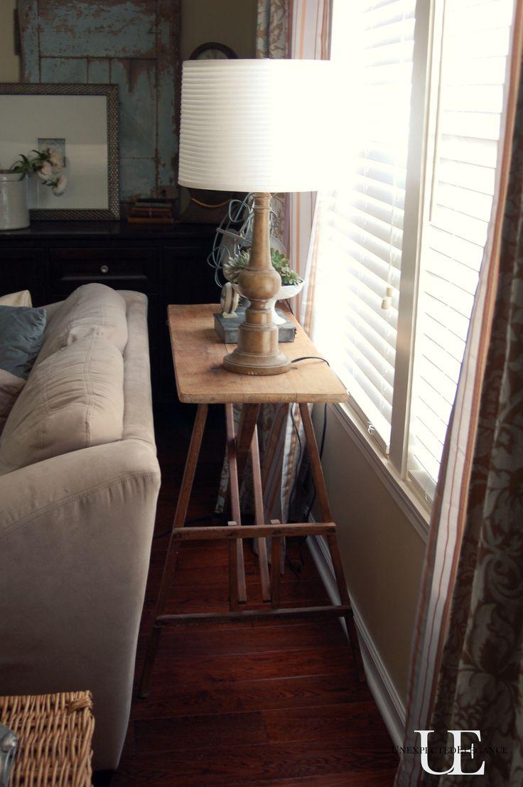 diy ironing board into sofa table