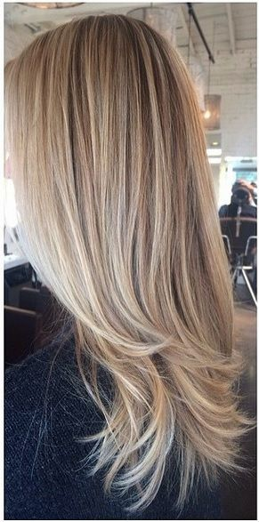 A lovely color melt of an ashy blonde base with sunkissed highlights by master colorist Amanda George.: