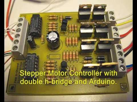 This is a bipolar N-channel MOSFET stepper motor controller, controlled by an Arduino. It uses an external double h-bridge to power the motor windings. Each ...
