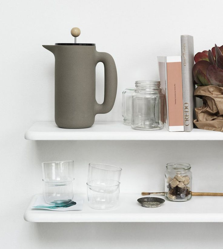 17 Contemporary Coffee Makers That You'll Want To Show Off // The smooth matte finish of this coffee press and the round knob on top of the plunger gives this press a minimalist look, and makes it easy to get a good grip as you send the plunger down to the depths.
