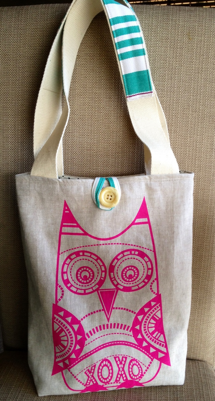 Bella & Hoo screen printed Owl fabric from Cat & Vee Designs made into a tote bag by JuMi Creations on Facebook