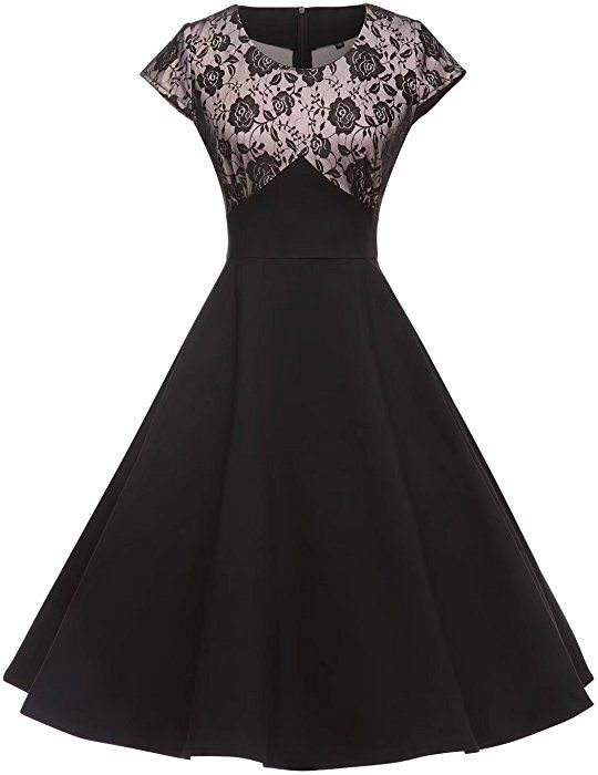 389a8893ea18 GownTown Women Lace Splicing Swing Dress Party Picnic Cocktail Dress at Amazon  Women's Clothing store: