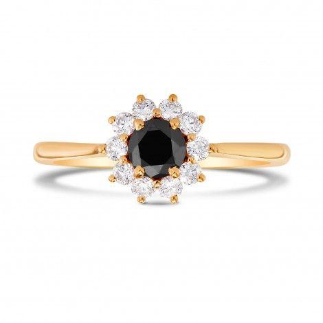 Shop Black Diamond Floral Halo Ring, SKU 228892 (0.64Ct TW)