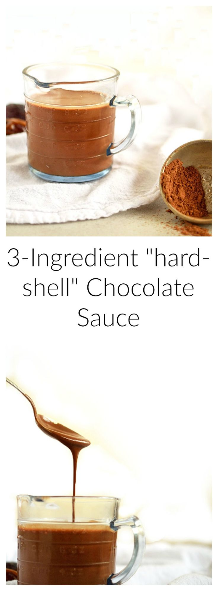 """3 Ingredient Raw """"Hard-Shell"""" Chocolate Sauce 