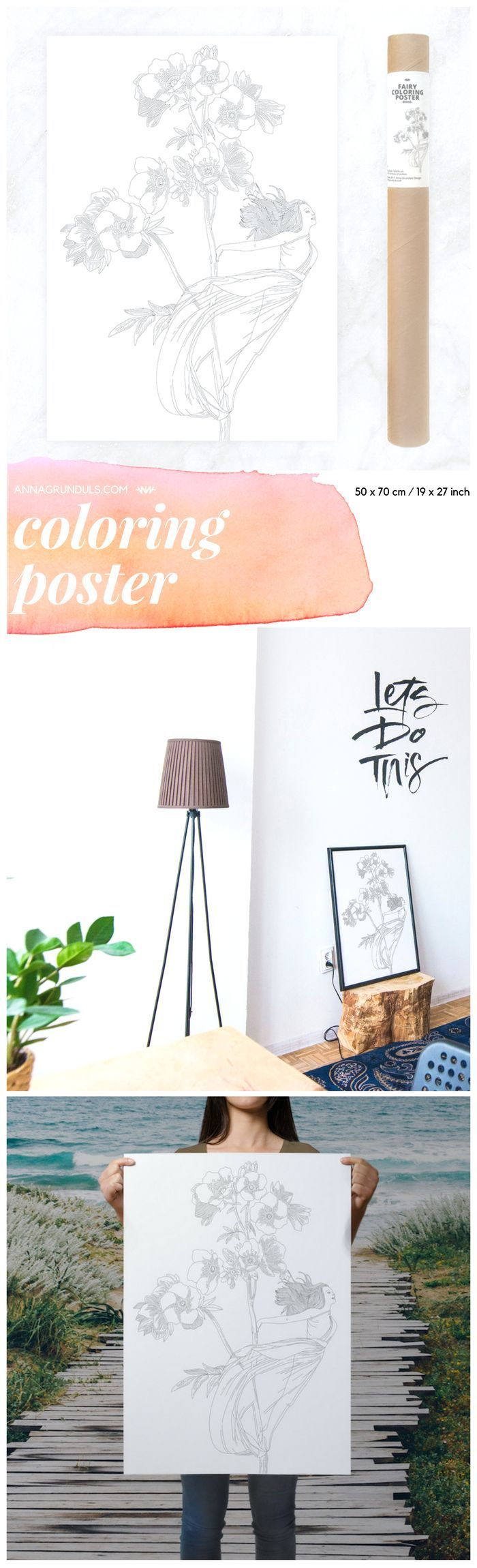 This is one magical coloring page! I love this boho styled poster for a wall decor!