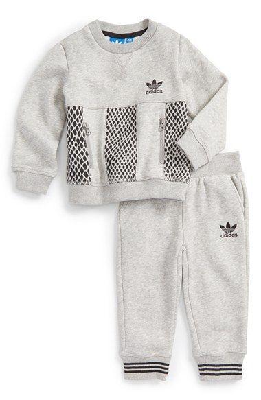 adidas 'Mini Me Tracksuit' BrushedSweatshirt & Sweatpants (Baby Boys) available at #Nordstrom