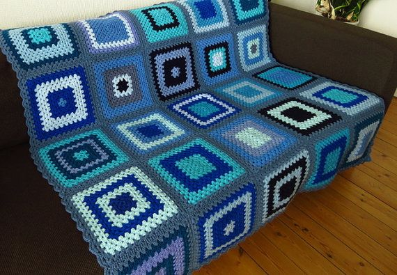 Stylish & classy blue #crochetblanket available to buy at https://www.etsy.com/uk/shop/Phoenixsmiles