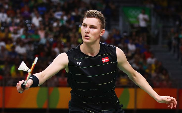 Viktor Axelsen of Denmark competes against Long Chen of China during the Men's Singles Badminton Semi-final on Day 14 of the Rio 2016 Olympic Games at Riocentro - Pavilion 4 on August 19, 2016 in Rio de Janeiro, Brazil.
