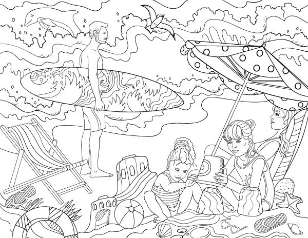 Free Printable Day At The Beach Adult Coloring Page Download It In PDF