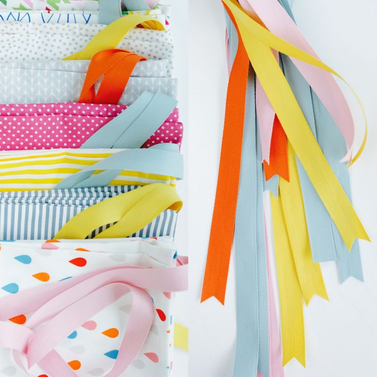 Fabric bags with cotton ribbon