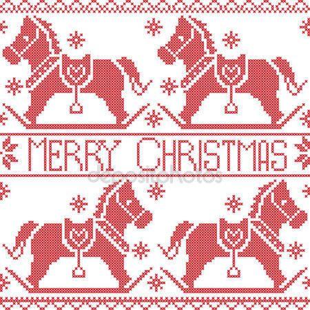 Скачать - Счастливого Рождества скандинавских стран Северной бесшовные, тряся лошади пони dala, звезды, снежинки в красный крест стежка — стоковая иллюстрация #79219980